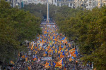 Protesters wave pro-independence Catalan Estelada flags during a huge demonstration in Barcelona AFP/Getty Images