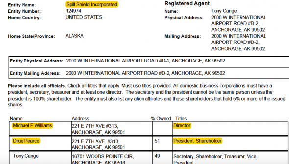 From Spill Shield Inc.'s February 2017 business filings, showing Pearce's and her husband Michael Williams' involvement in the company.