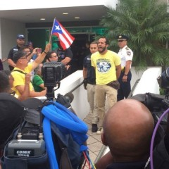Puerto Rican Teachers Federation Vice President Edwin Morales arrested at civil disobedience November 7 protesting closing of public schools in Puerto Rico after Hurricane Maria.