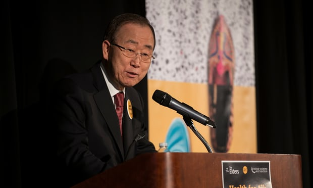 Ban Ki-moon: 'It simply breaks my heart to see victims of tragic mass shootings then be potentially bankrupted because they cannot afford the hospital and recovery bills.' Photograph: Andrew Seng