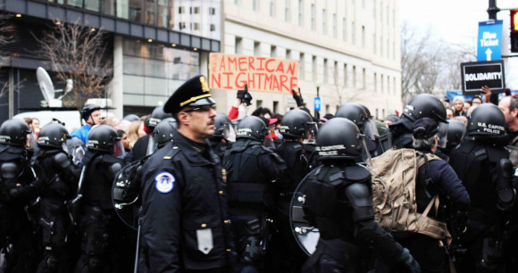 American Nightmare, militarized police kettle protesters at J20 Trump Inauguration protest by Eleanor Goldfield of Art Killing Apathy