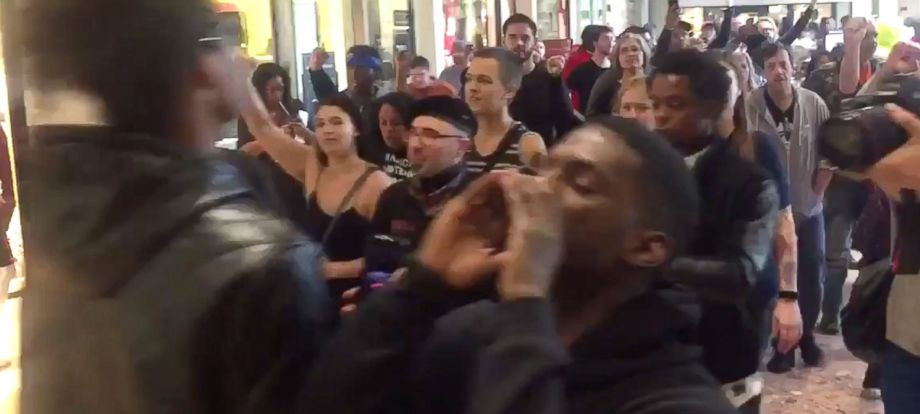 People chant in protest at the Galleria Mall, located near St.Louis, Missouri, Nov. 24, 2017. By ABC News