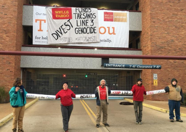 Earth Defense Coalition lockdown blockading Wells Fargo