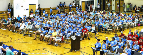 "Members of Protect South Portland, who oppose the plan to pipe tar sands oil from Canada to the city's harbor, wore light blue T-shirts to City Council meetings in support of the ""Clear Skies Ordinance."" Opponents wore red with the words ""American Energy."" Credit: Dan Wood"