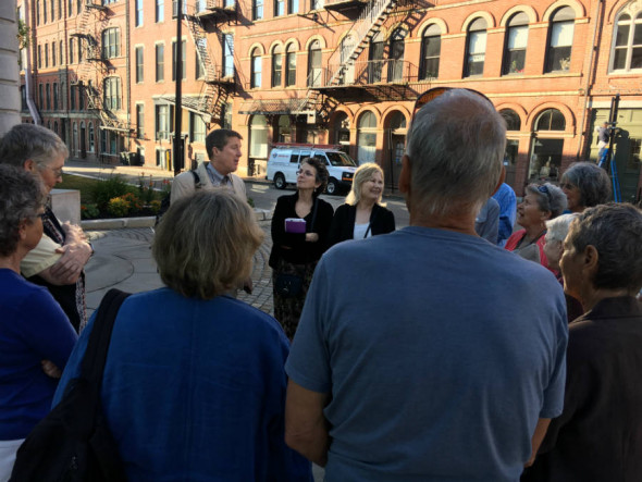 Sean Mahoney of the Conservation Law Foundation addresses a group from Protect South Portland before a hearing in August. Credit: Sabrina Shankman