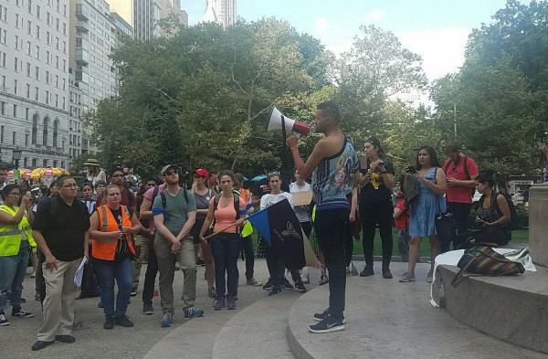 """Mani Martinez speaking at a rally at Trenton, state capitol of NJ, against A1114, """"Police Respectability"""" Bill."""