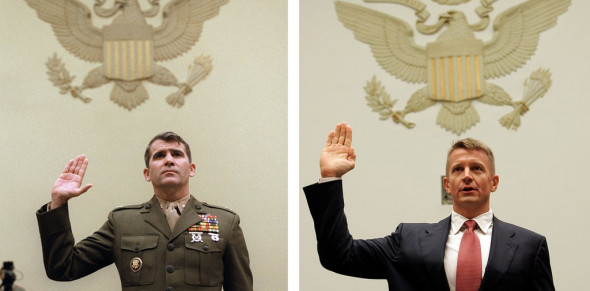 Oliver North testifying before Congress in 1986, and Erik Prince testifying before the House Committee on Oversight and Government Reform in 2007, in Washington, D.C. Photos: AFP/Getty, AP