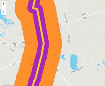 This map from the Sierra Club shows much of Garysburg, North Carolina inside the evacuation zone (orange) of the proposed Atlantic Coast Pipeline.