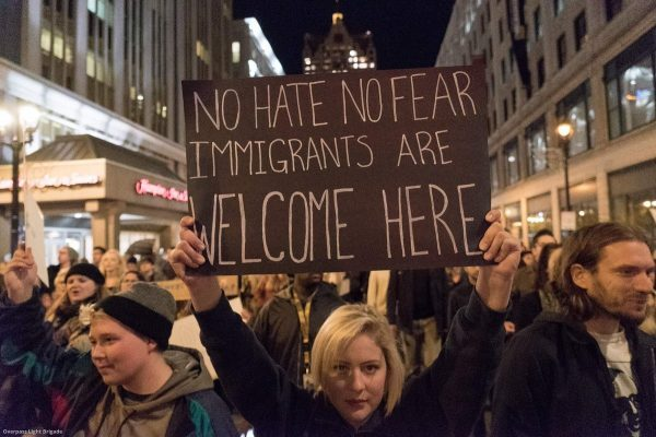 immigrants are welcome here. from overpass light brigade twitter. e1530459262803