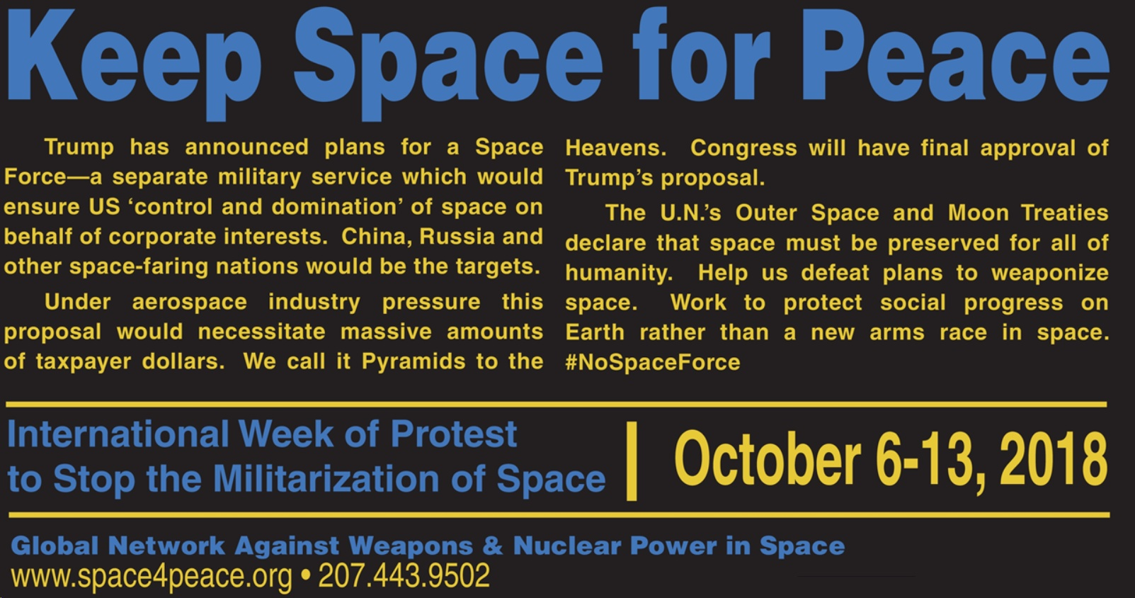 Keep Space For Peace Week Of Action