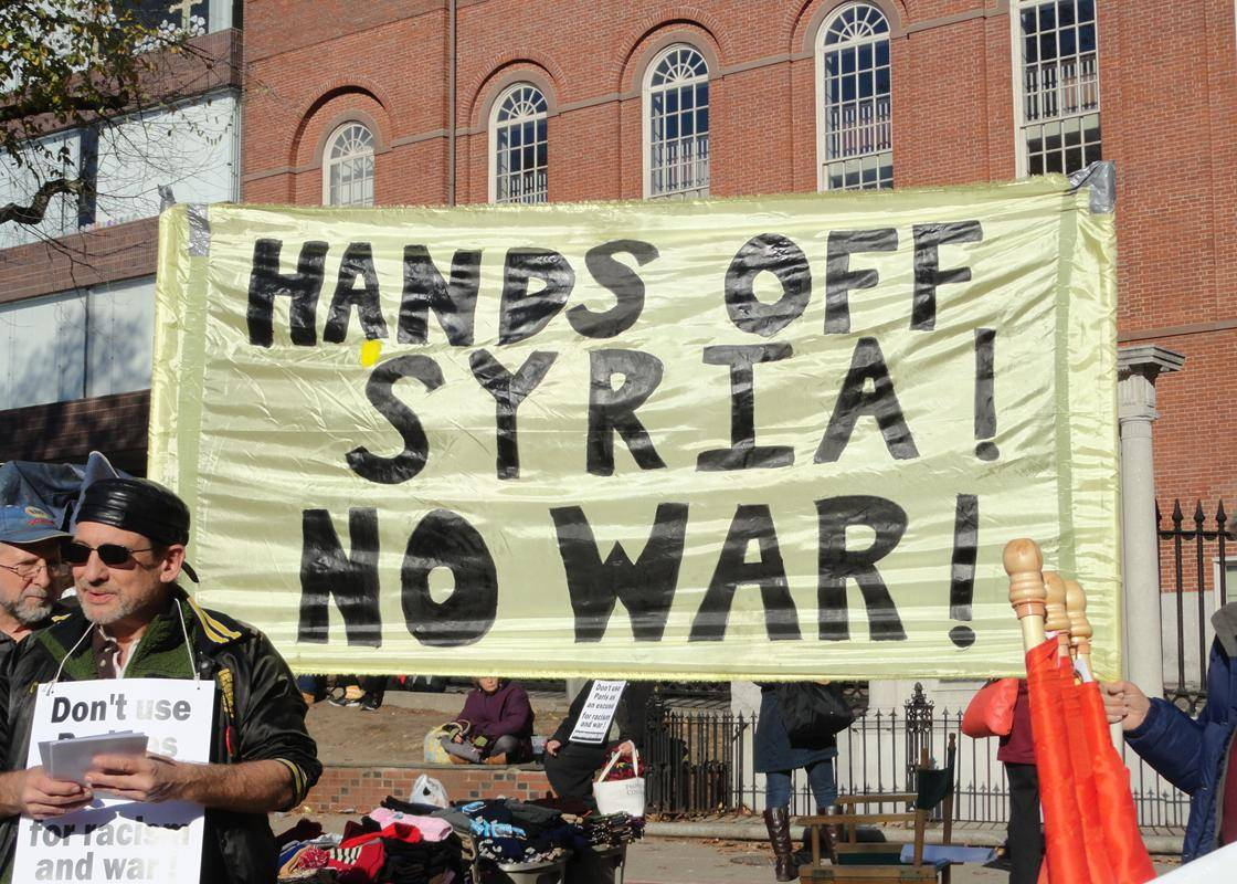 mobilization against war protest against war against syria. vancouver.