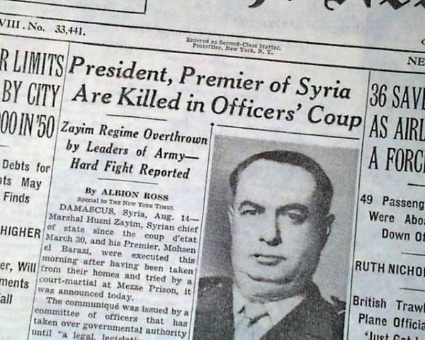 syria 1949 newspaper headlines about coup. the new york times august 15 1949 e1545528042228