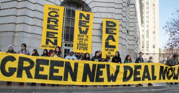 green new deal protest in san francisco to pressure pelosi. photo by peg hunter flicker e1547437051512