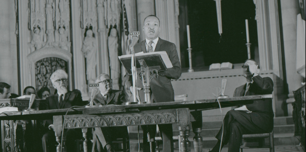 "King delivering his speech ""Beyond Vietnam"" at New York City's Riverside Church in 1967. By John C. Goodwin, TIME Magazine."