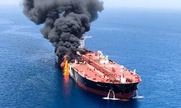 an oil tanker burns after the attack on 13 june in waters between gulf arab states and iran. photograph reuters e1560706806284