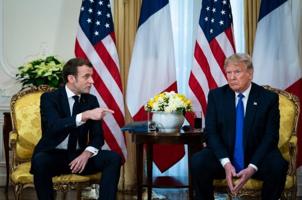 nato meeting president donald trump right and president emmanuel macron on march 3 2019. credit al drago for the new york times e1575754184568