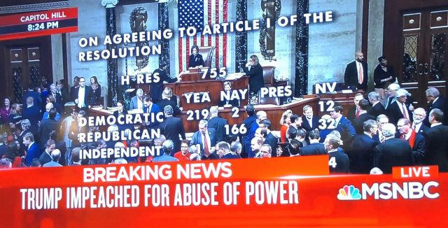 screen shot of house voting for impeachment e1577039391724